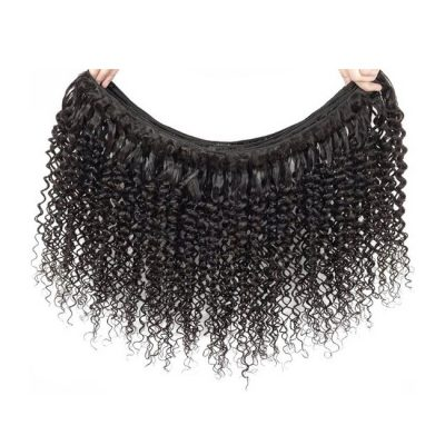 Brazilian Curly Virgin Hair Weaving Natural Color 1B Double Weft