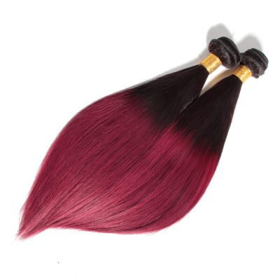 Colored Brazilian Hair Weave Burgundy Ombre Straight Hair