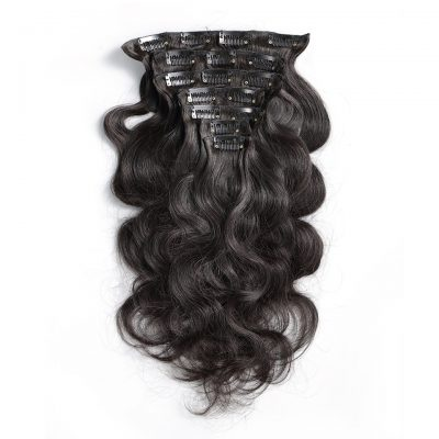 Human Hair Clip In Hair Extension 10 PieceSet Natural Color