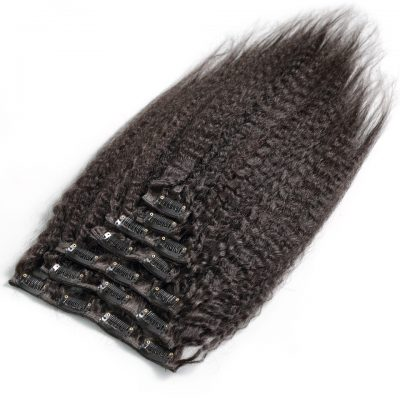 Kinky Straight Human Hair Extension Remy Clip In Hair Extension