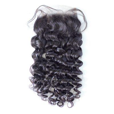 Lace Closure Brazilian Deep Wave Human Remy Hair Top Closure