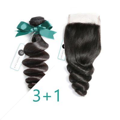 Loose Wave Peruvian Virgin Hair With Closure 3Bundles Deal