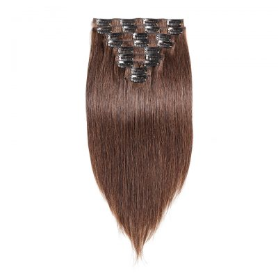 Peruvian Hair Extension Hand Tied Weft Straight Color #2 Clip Ins