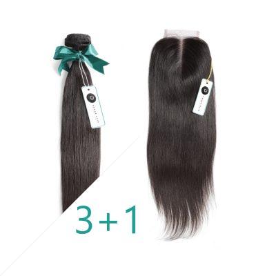 Virgin Peruvian Hair With Closure Deal Straight Hair Bundles