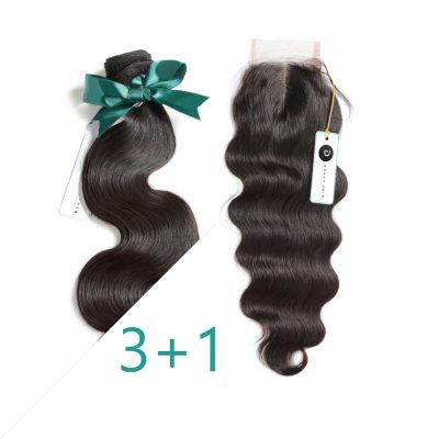 Brazilian Hair Extension Body Wave HD Closure Bundles Set