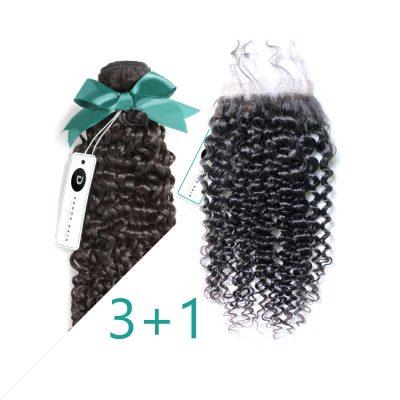 Curly Hair Virgin Brazilian Hair Bundles With Closure Brazilian Hair