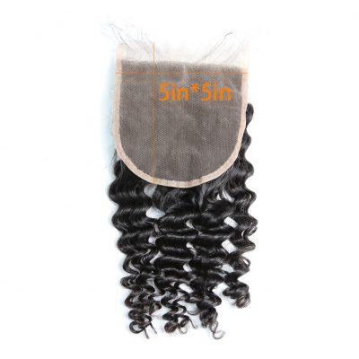 Deep Wave Lace Closure Virgin Hair 5X5 Transparent Lace Closure