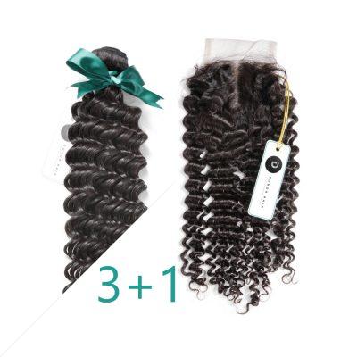 Deep Wave Virgin Brazilian Human Hair Bundles With Closure
