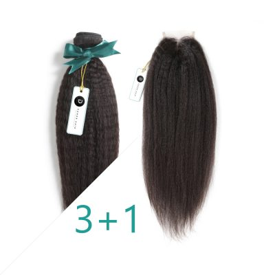 Kinky Straight Human Hair Extension With Closure Unprocessed Hair