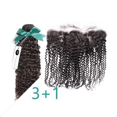Virgin Peruvian Curly Hair With Lace Frontal 13X4 Virgin Hair