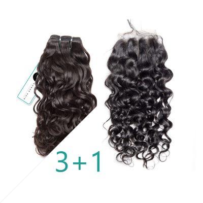 Water Wave Brazilian Hair Bundles Set Human Hair With Lace Closure